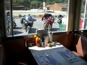 bikes through diner window