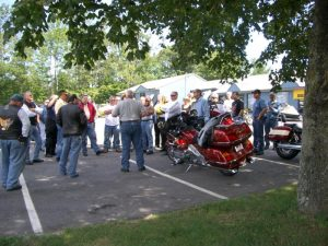 riders attending pre-ride meeting