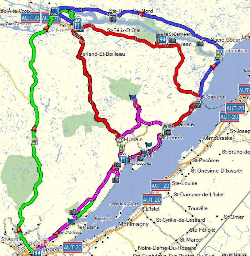 Quebec City motorcycle rides map