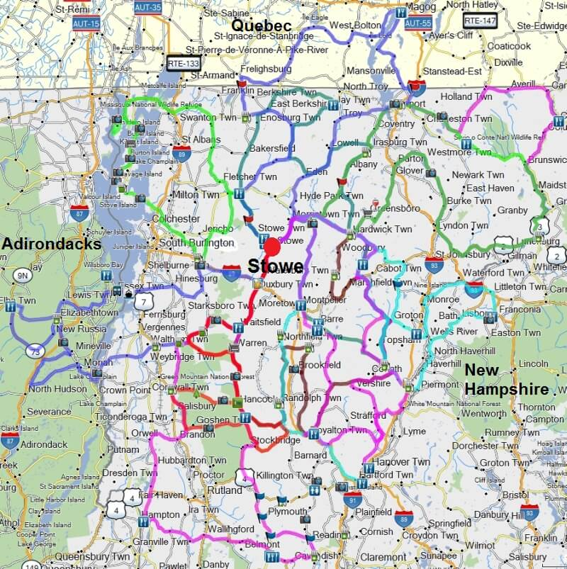 map of Stowe VT motorcycle rides