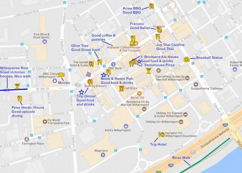 Williamsport Downtown Amenities Map