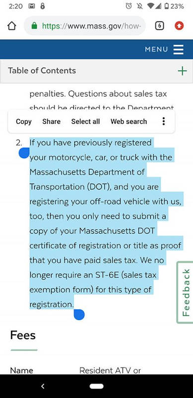 MA OHV Proof of Sales Tax Statement
